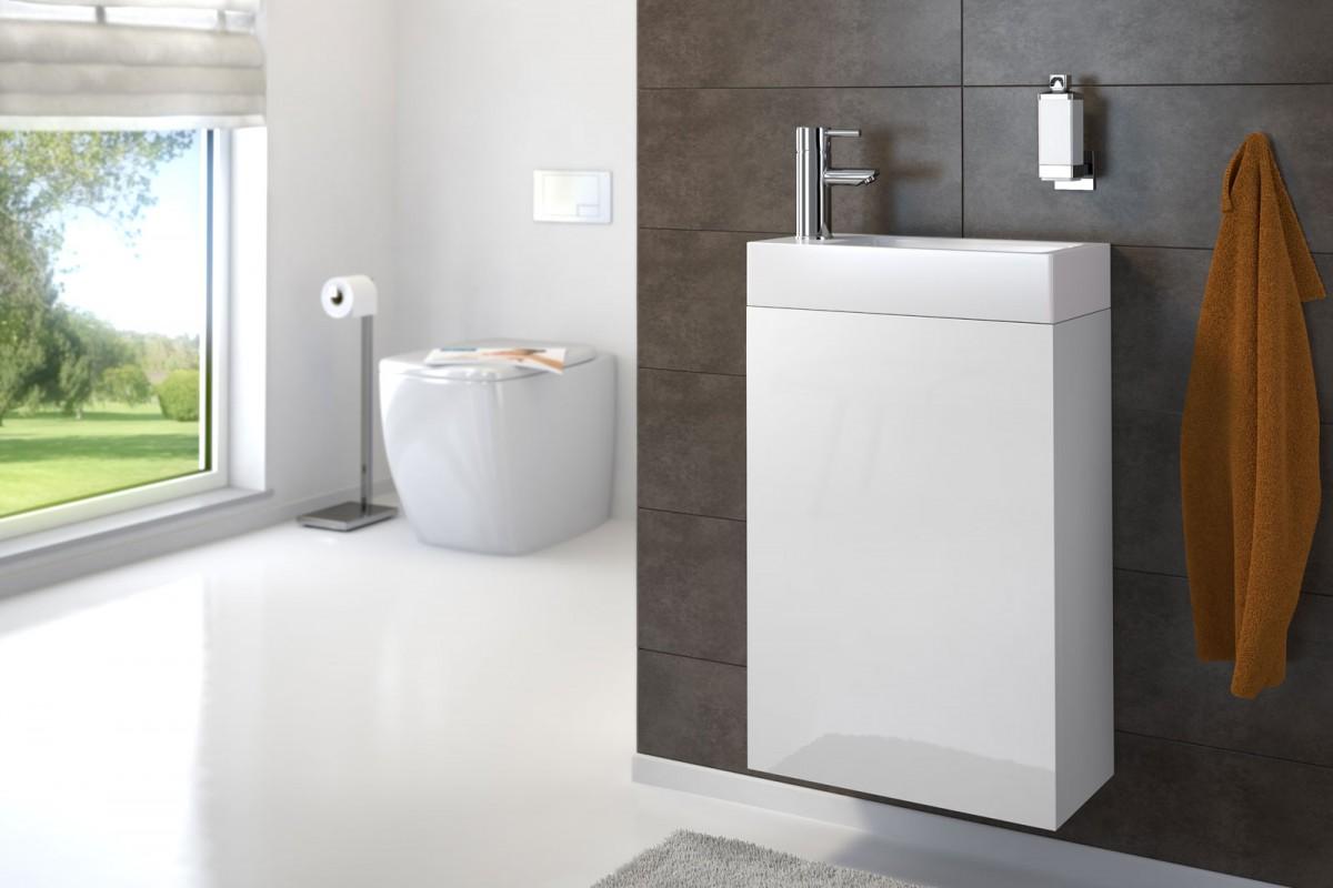 Waschplatz VITA - Hochglanz weiß - 40 cm - Gästewaschbecken