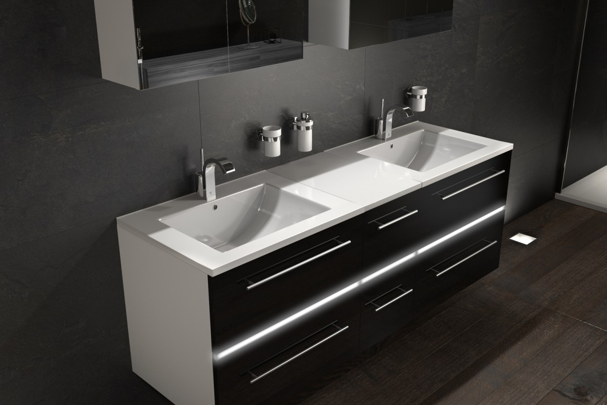 Badmöbelset 5tlg Doppelwaschplatz DIADORA XL - 150 cm - LED - Weiß/Schwarz