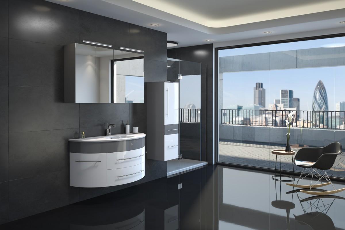 Badmöbel Set 3tlg. ESDRA 120 cm halbrunder Waschplatz Hochglanz grau/weiß