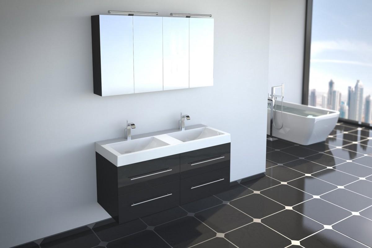 Badmöbel Set 2tlg DUBAI - Hochglanz schwarz - 120 cm - Doppelwaschbecken