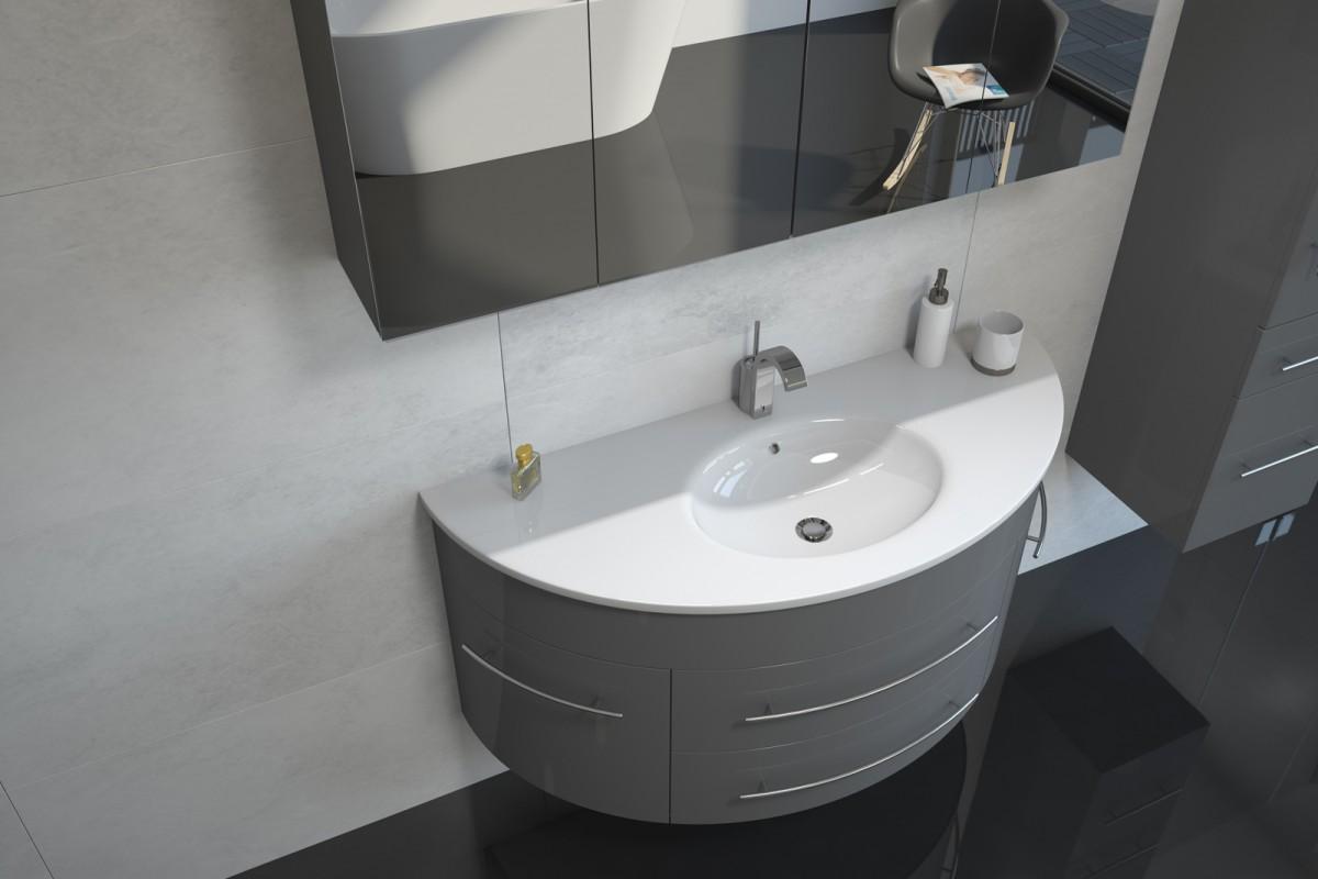 Badmöbel Set 3tlg. ESDRA 120 cm halbrunder Waschplatz Hochglanz grau