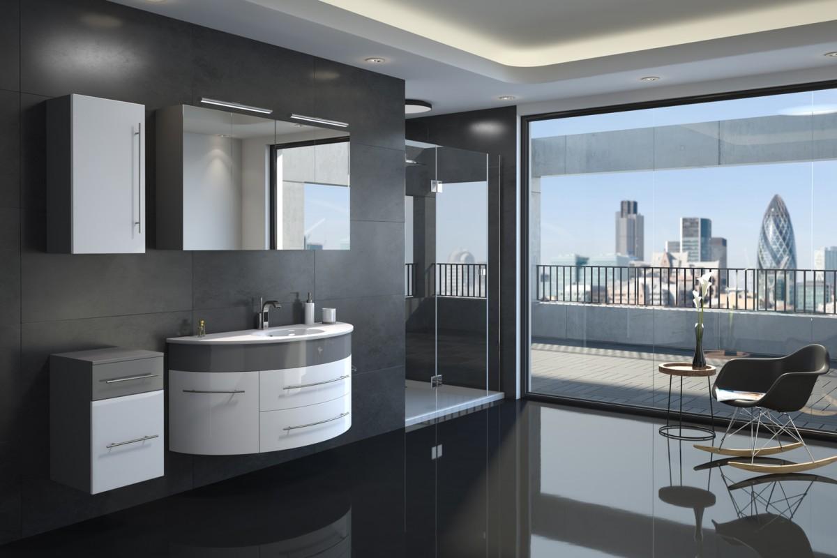 Badmöbel Set 4tlg. ESDRA 120 cm halbrunder Waschplatz Hochglanz grau/weiß