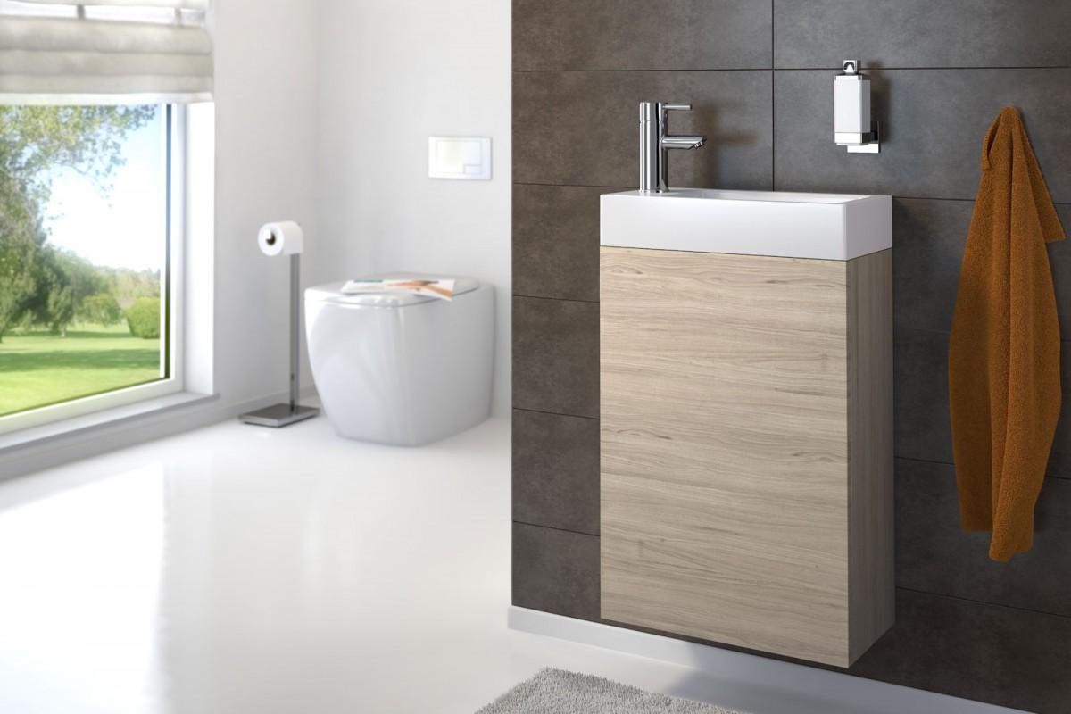 Waschplatz VITA - matt Sonomaeiche - 40 cm - Gästewaschbecken