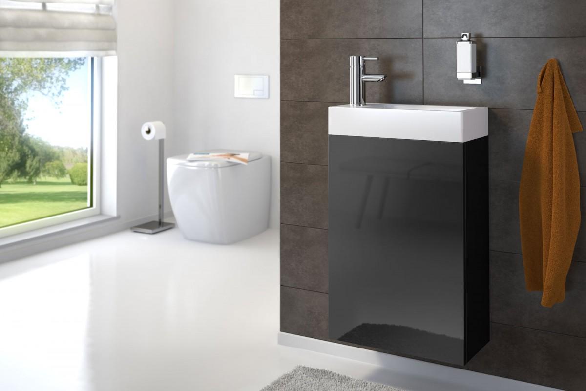 Waschplatz VITA - Hochglanz schwarz - 40 cm - Gästewaschbecken