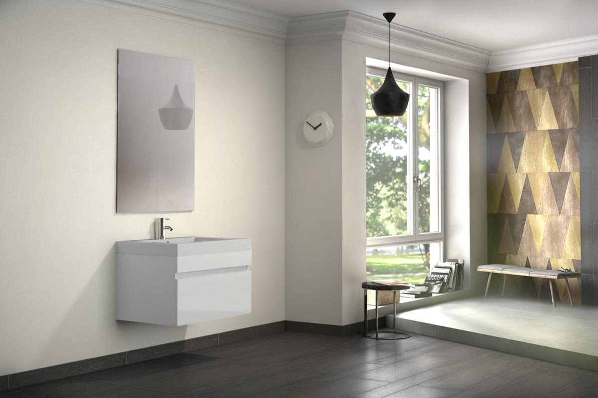 Badmöbelset PANDORA 2tlg - Hochglanz weiß - 70 cm mit Spiegel