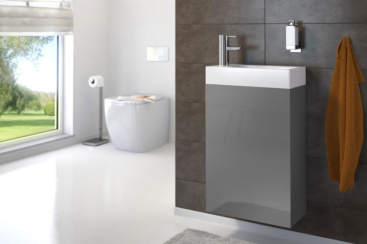 Waschplatz VITA - Hochglanz grau - 40 cm - Gästewaschbecken