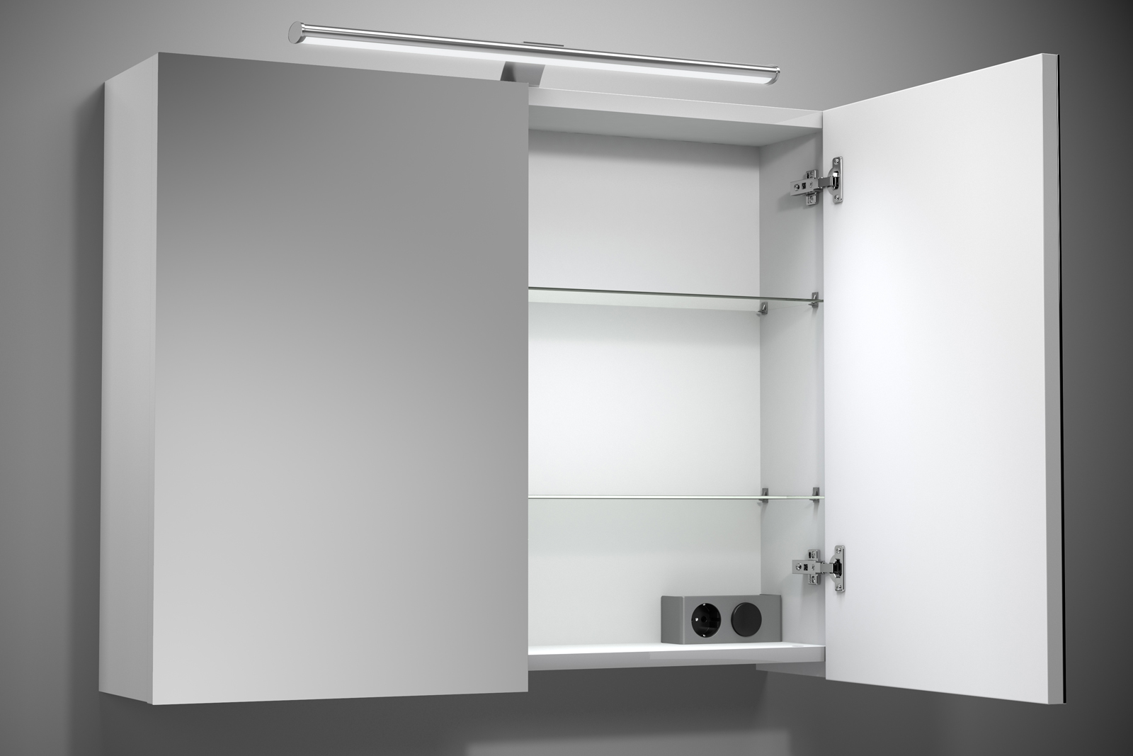 Badezimmer Spiegelschrank Beleuchtung Set Lampe 20 cm mit Energiebox