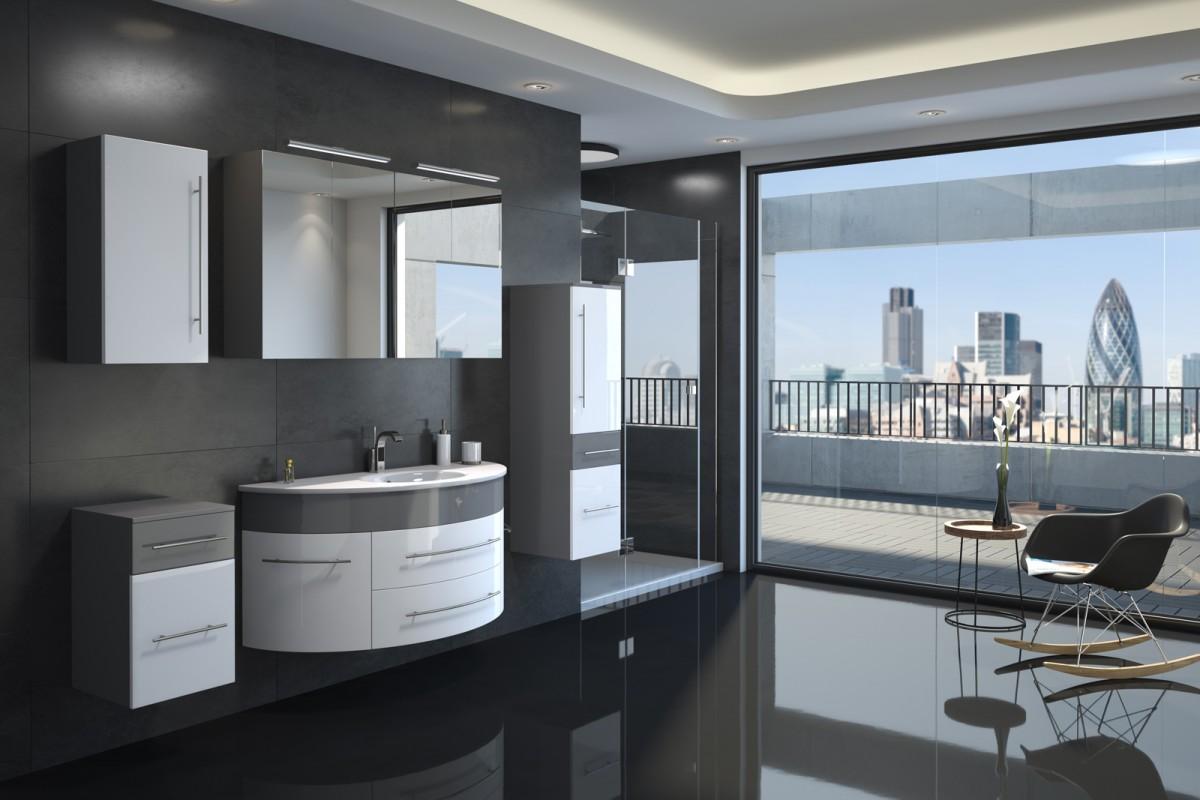 Badmöbel Set 5tlg. ESDRA 120 cm halbrunder Waschplatz Hochglanz grau/weiß